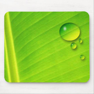 leaf and droplets mouse mat