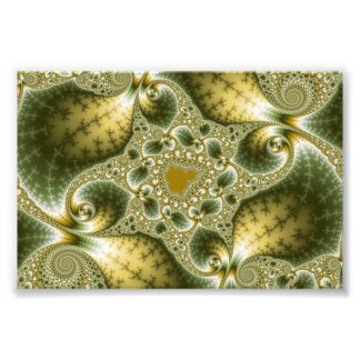 Leaf And Gold - Fractal Art Photo Print