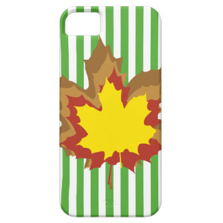 Leaf Autumnal Stripes with Leaves iPhone 5 Case