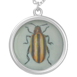 Leaf Beetle Round Pendant Necklace