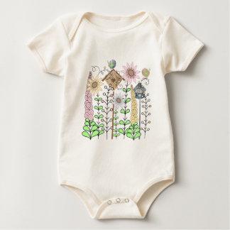 Leaf Birdie Flower Garden Baby Bodysuit