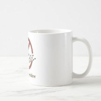 leaf blowers blow coffee mug