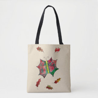 leaf butterfly tote bag