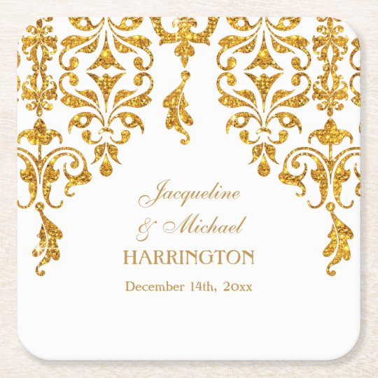 Leaf Damask Art Nouveau Glitter Reception Decor Square