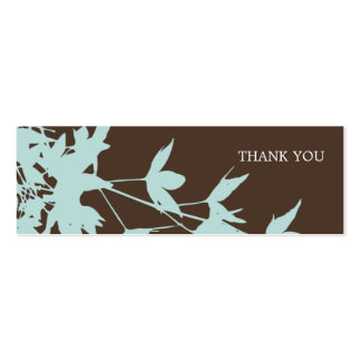Leaf Design Gift Tag BLUE-CHOCOLATE Pack Of Skinny Business Cards