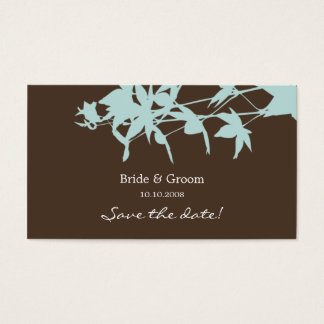 Leaf design Save the date BLUE & CHOCOLATE Business Card