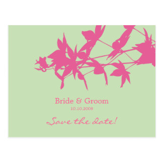 Leaf design Save the date PINK - GREEN Postcard