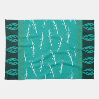 Leaf Design Tea Towel in Turquoise and Blue