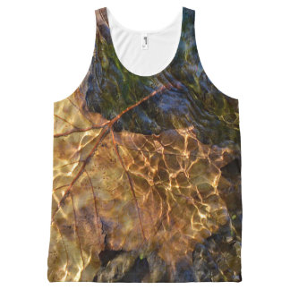 Leaf Floating Downstream Photographic Art All-Over Print Tank Top