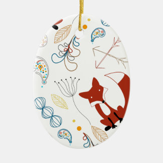 Leaf Floral Arrows Fox Woodland Forest Pattern Ceramic Oval Decoration