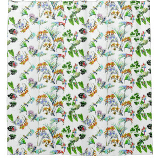 Leaf Flowers Birds Shower Curtain