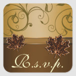 Leaf Gold Chocolate Brown Fall Wedding Seals Square Sticker