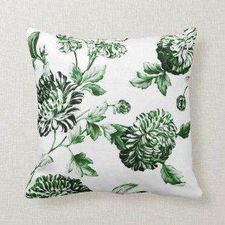 Leaf Green Botanical Floral Toile No.2 Throw Pillow