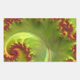 Leaf Green Fractal Rectangular Sticker