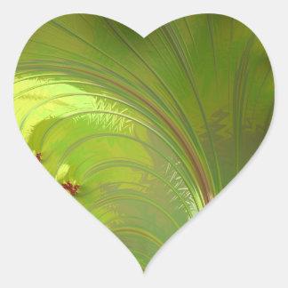 Leaf Green Fractal Heart Stickers