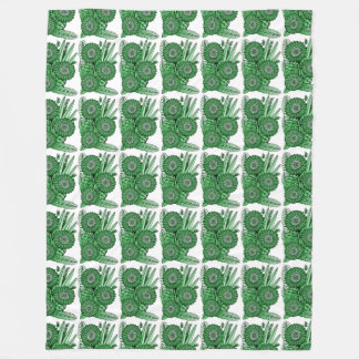 Leaf Green Gerbera Daisy Flower Bouquet Fleece Blanket