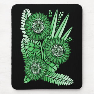 Leaf Green Gerbera Daisy Flower Bouquet Mouse Mat