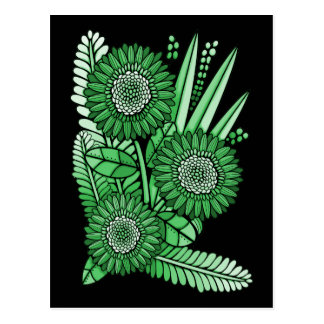 Leaf Green Gerbera Daisy Flower Bouquet Postcard
