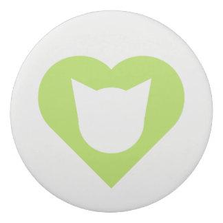 Leaf Green Heart/Cat Face Silhouette Eraser