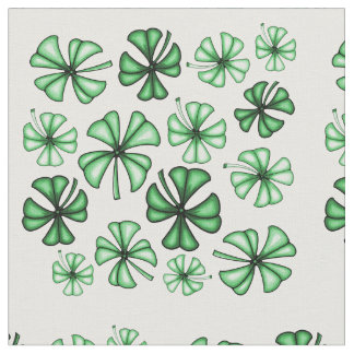 Leaf-Green Lucky Shamrock Clover Fabric