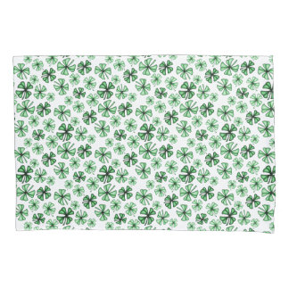 Leaf-Green Lucky Shamrock Clover Pillowcase