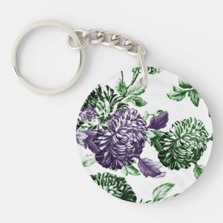 Leaf Green & Mulberry Garden Botanical Floral Key Ring