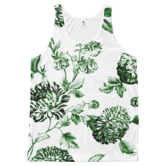 Leaf Green Vintage Botanical Floral Toile No2 All-Over Print Tank Top