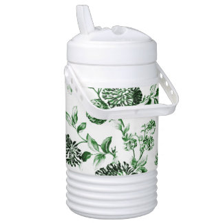 Leaf Green Vintage Botanical Floral Toile No.2 Cooler