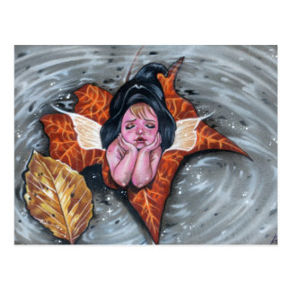 Leaf her alone baby fairy autumn leaves Postcard