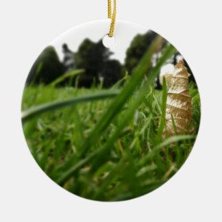 Leaf in grass round ceramic decoration