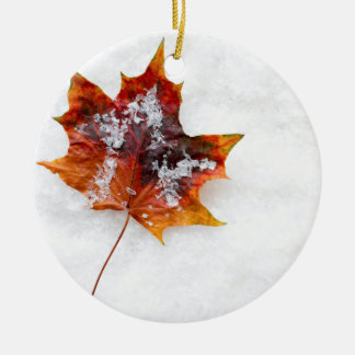 Leaf in the Snow Ceramic Round Christmas Ornament