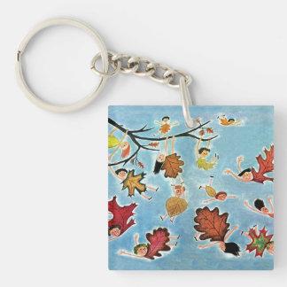 Leaf Kids Double-Sided Square Acrylic Key Ring