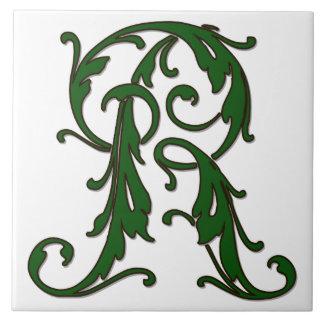 Leaf Letter R in Green Monogram Tile
