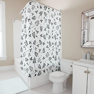 Leaf Mix Pattern Black on White Shower Curtain