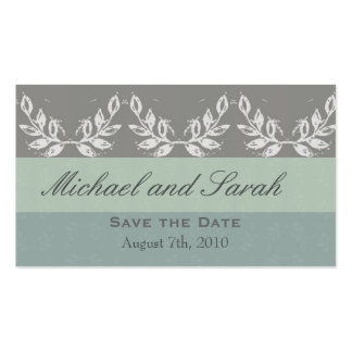 Leaf Motif Save the Date Custom Pack Of Standard Business Cards