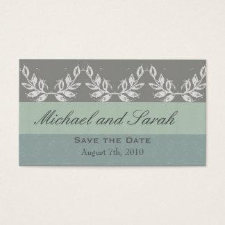 Leaf Motif Save the Date Custom Business Card