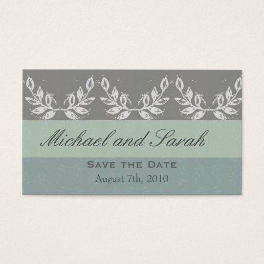 Leaf Motif Save the Date Custom Business Card