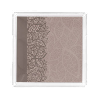 Leaf pattern border and background acrylic tray
