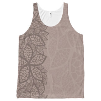 Leaf pattern border and background All-Over print tank top