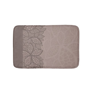 Leaf pattern border and background bath mat