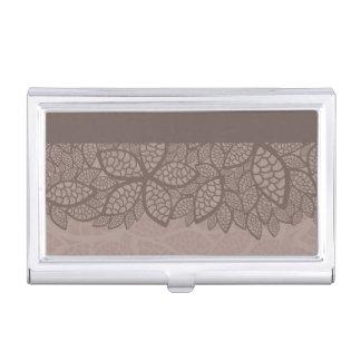 Leaf pattern border and background business card holder