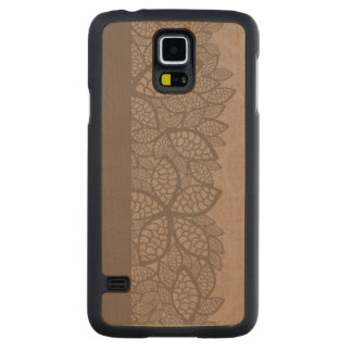 Leaf pattern border and background carved maple galaxy s5 case