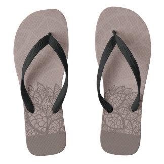 Leaf pattern border and background flip flops