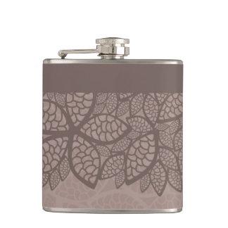 Leaf pattern border and background hip flask
