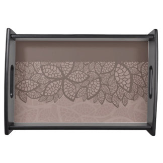 Leaf pattern border and background serving tray