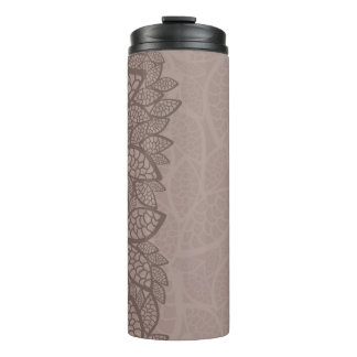 Leaf pattern border and background thermal tumbler