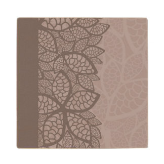 Leaf pattern border and background wood coaster
