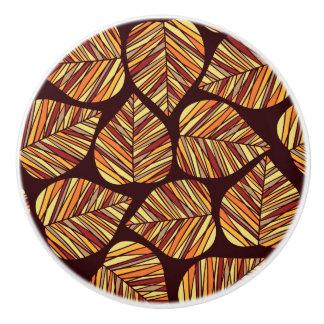 Leaf pattern ceramic knob