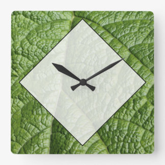 Leaf Pattern Design. Square Wall Clock