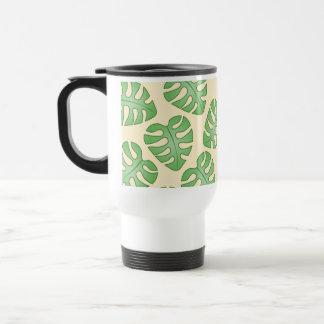 Leaf Pattern, Monstera Leaves on Cream Color. Coffee Mugs